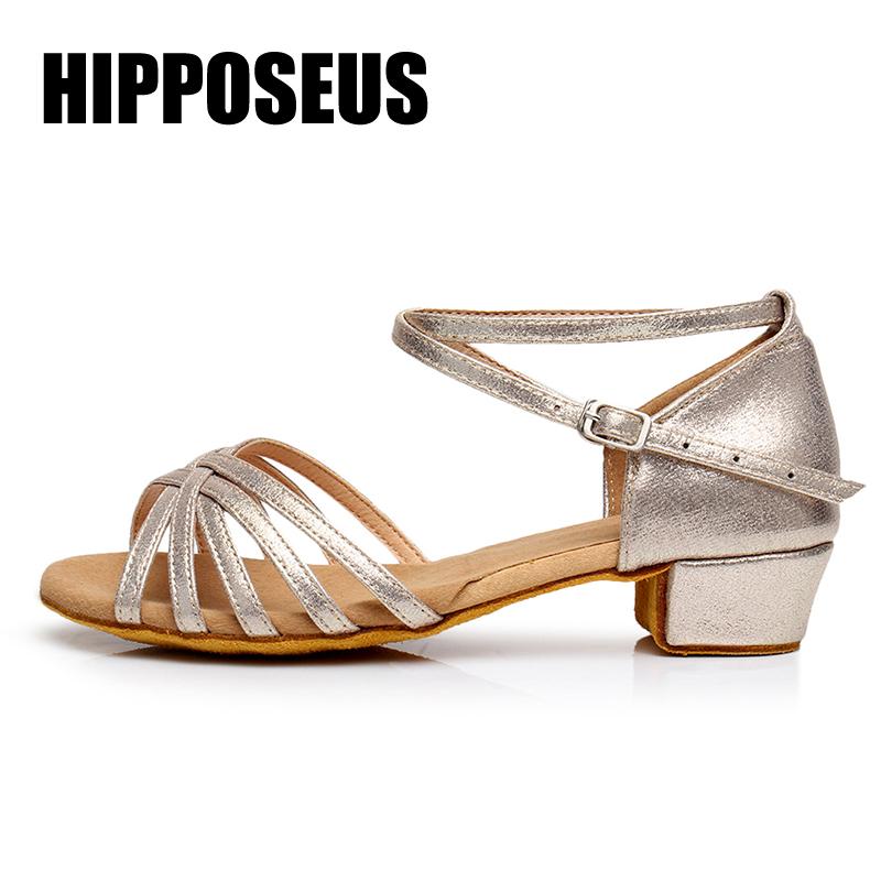 Children Ballroom Latin Dance Shoes Women Girls Tango&Salsa Modern Shoes Low Heel Ladies/Kids Indoor Dancing Shoes Professional