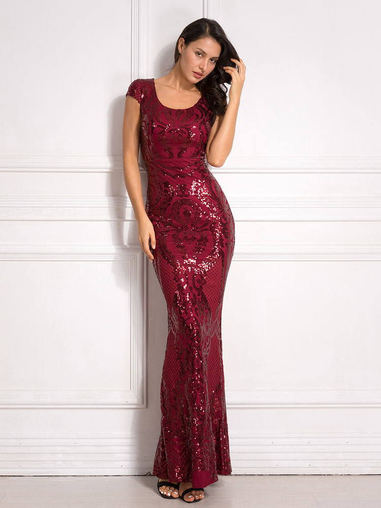 Burgundy Sequined Evening Party Dress Cap Sleeve Floor Length Stretchy Maxi Dress 2019 Autumn Winter 8