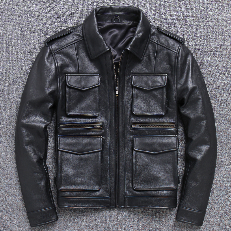 Genuine Cow Leather Jacket Men Plus Size Coat Spring Autumn Real Cowhide Leather Jacket Veste Cuir Homme HL765A-N KJ1926