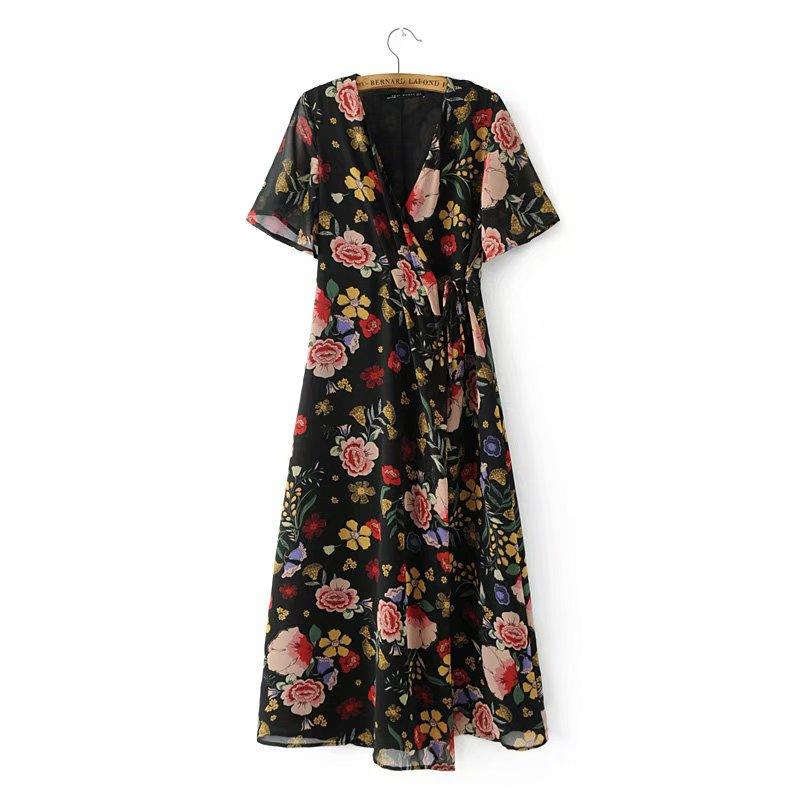 New 2020 women vintage v neck floral print midi dress ladies short sleeve casual slim vestidos chic brand lace up dresses DS3655