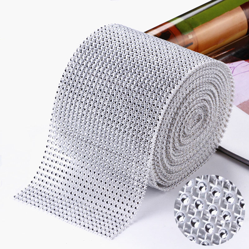 12cm*91.5cm Diamond Mesh Roll Acrylic Ribbons Crystal Tulle Bling Bridal Party Birthday Wedding DIY Decoration Bouquet Cake Wrap