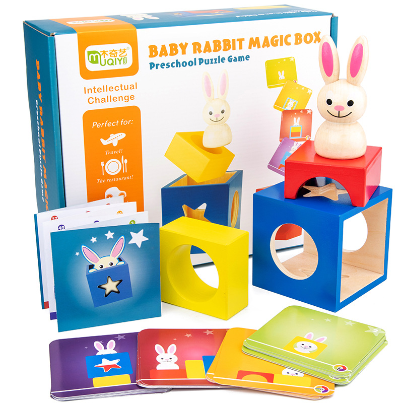 Baby Wooden Puzzle Boxes Rabbit Magic Box Toys For Kids Assembling Building Blocks Educational Birthday Gifts Shipping From RUS