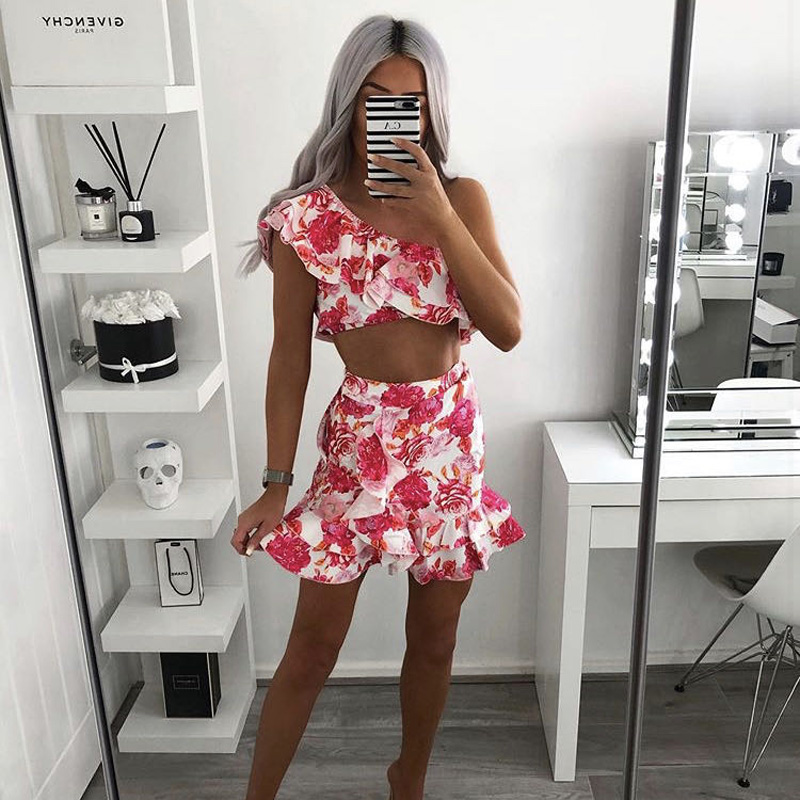 High Quality 2020 Dolce Frill Crop + Dolce Frill Skirt  Flower Printed Sexy Pink Set Women Outfits Lovely 2 Piece Set