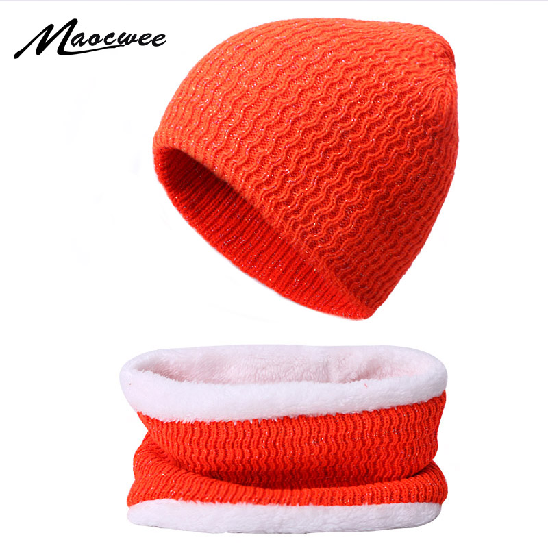 2PCS Winter Hat Scarf Set For Women Men Knitting Skullies Beanies Hat Ring Scarf Knit Plus Velve Cap Winter Outdoor Accessories