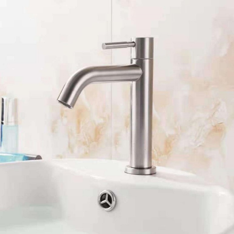 Single Cold Quickly Open Type Kitchen & Basin Faucet Rust And Corrosion Resistance Bathroom Sink Water Tap 304 Stainless Steel