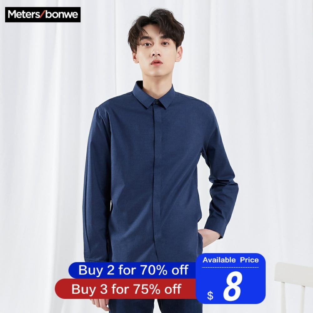 Metersbonwe Brand Men Casual Shirts Spring Autumn Male Slim Deep Blue Long Sleeve Shirts Regular Cotton Male Basic Tops