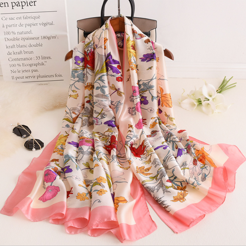 Floral Scarf For Women New Fashion Sauqre Scarf Pink Grey Black Beige Color Spring Shawl Wholesale