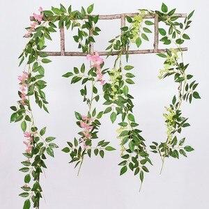 Image 3 - Diy Zijde Opknoping Eucalyptus Garland Wedding Party Simulatie Rieten Bladeren Wijnstok Decoraties
