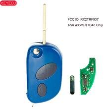 KEYECU Flip remoto sin llave a 433MHz ID48 Chip de Fob para Maserati GranTurismo Quattroporte 2005 2011 FCCID: RX2TRF937