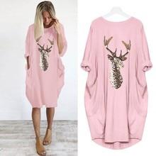 Plus Size dress Women Casual Loose Tops Elk Printting Sundress 2019 Autumn Winte