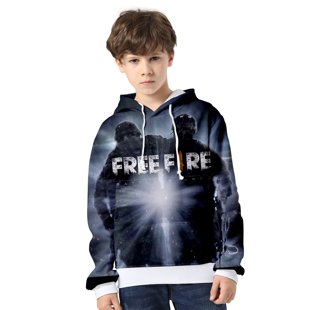 2 To 14 Years 3D FREE FIRE Clothing Children Kids Boys Girls Long Sleeve Hoodie Sweatshirt Outerwear Child Jacket Coat Clothes