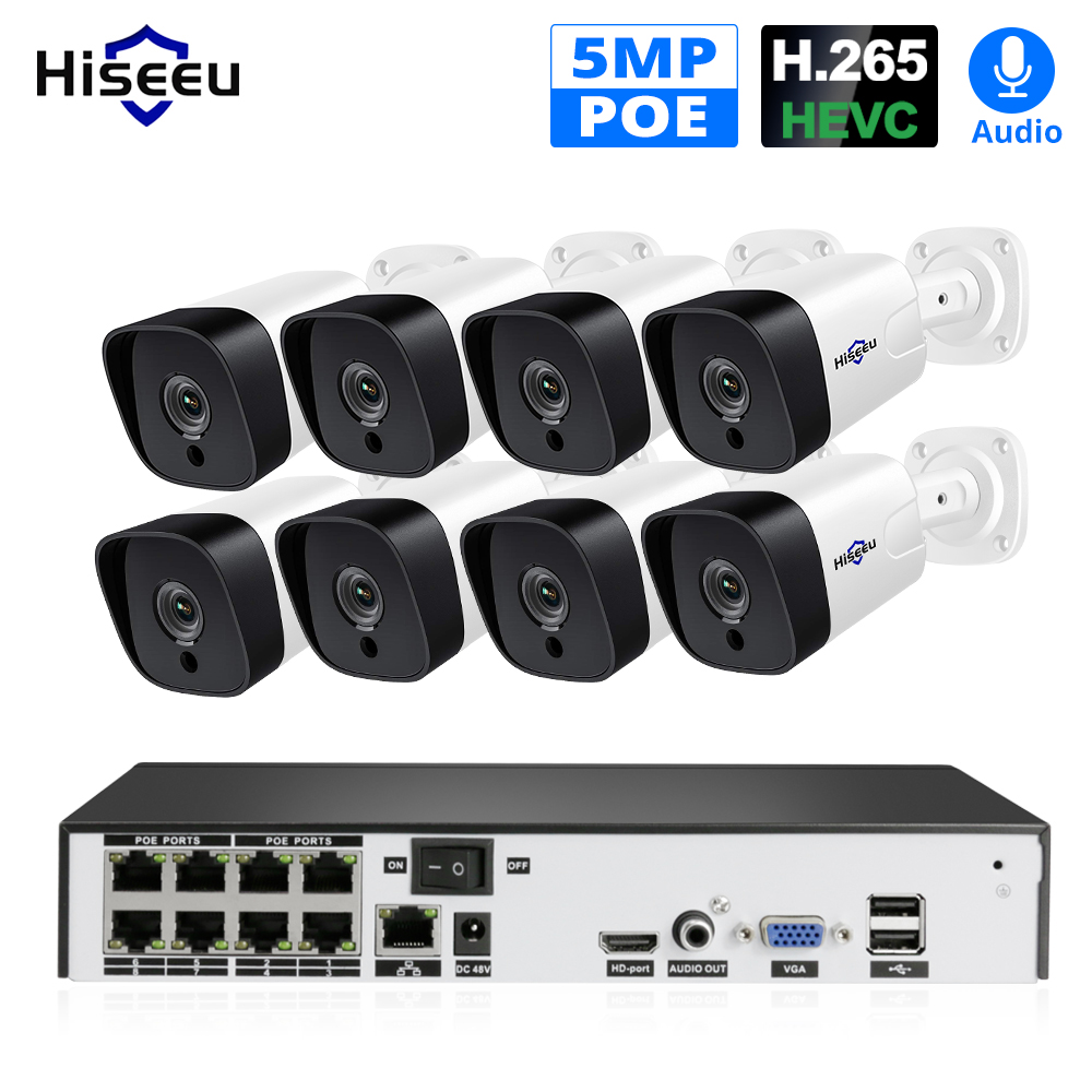 Hiseeu AI 8CH 5MP POE Security Camera System Set H.265 Outdoor Waterproof Audio Recorde IP Camera 4MP 2MP Video Surveillance Kit