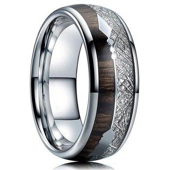8mm Silver Titanium White Silk Wood Grain Arrow Ring 4