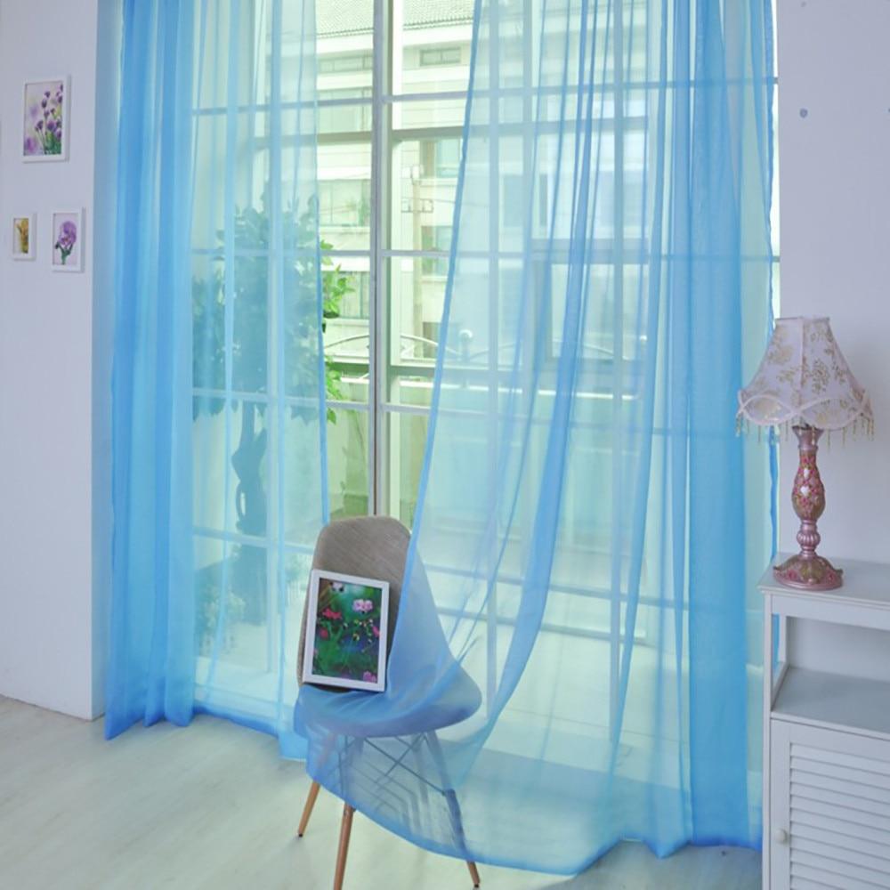 1 PCS Pure Color Tulle Door Window Curtain Drape Panel Sheer Scarf Valances #LR3|Curtains| |  - title=