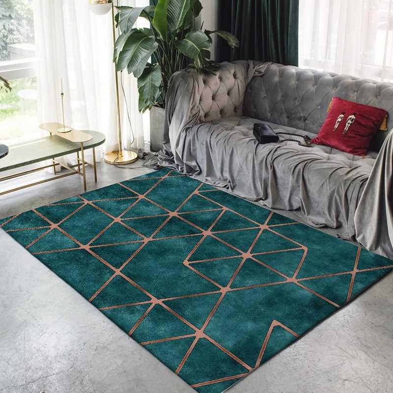 Living Room Large Carpet And Rug Modern Gold Geometric Imitation Dark Green Marble Tapete Bedroom Sofa Anti Slip Door Floor Mats Aliexpress