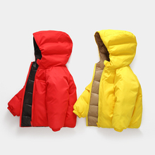 2019 new children down jacket double-sided winter thick warm boys girl hooded fashion clothes coat for kids