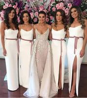Off White Sheath Long Bridesmaid Dresses Formal Dress 2020 Robe De Soiree Cheap Dress For Wedding Party Wedding Guest Dress