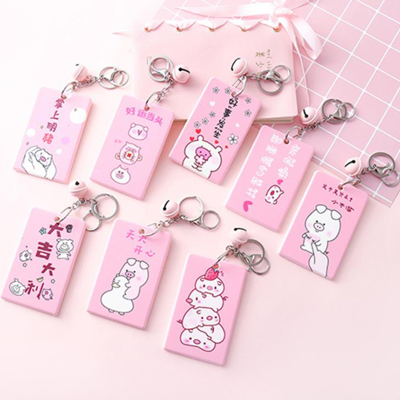 1 Pcs Cartoon Animal Pig Pink Card Holder Bell Bank ID Credit Card Bag Case Keychain Card Storage Bag Students Stationery Gifts
