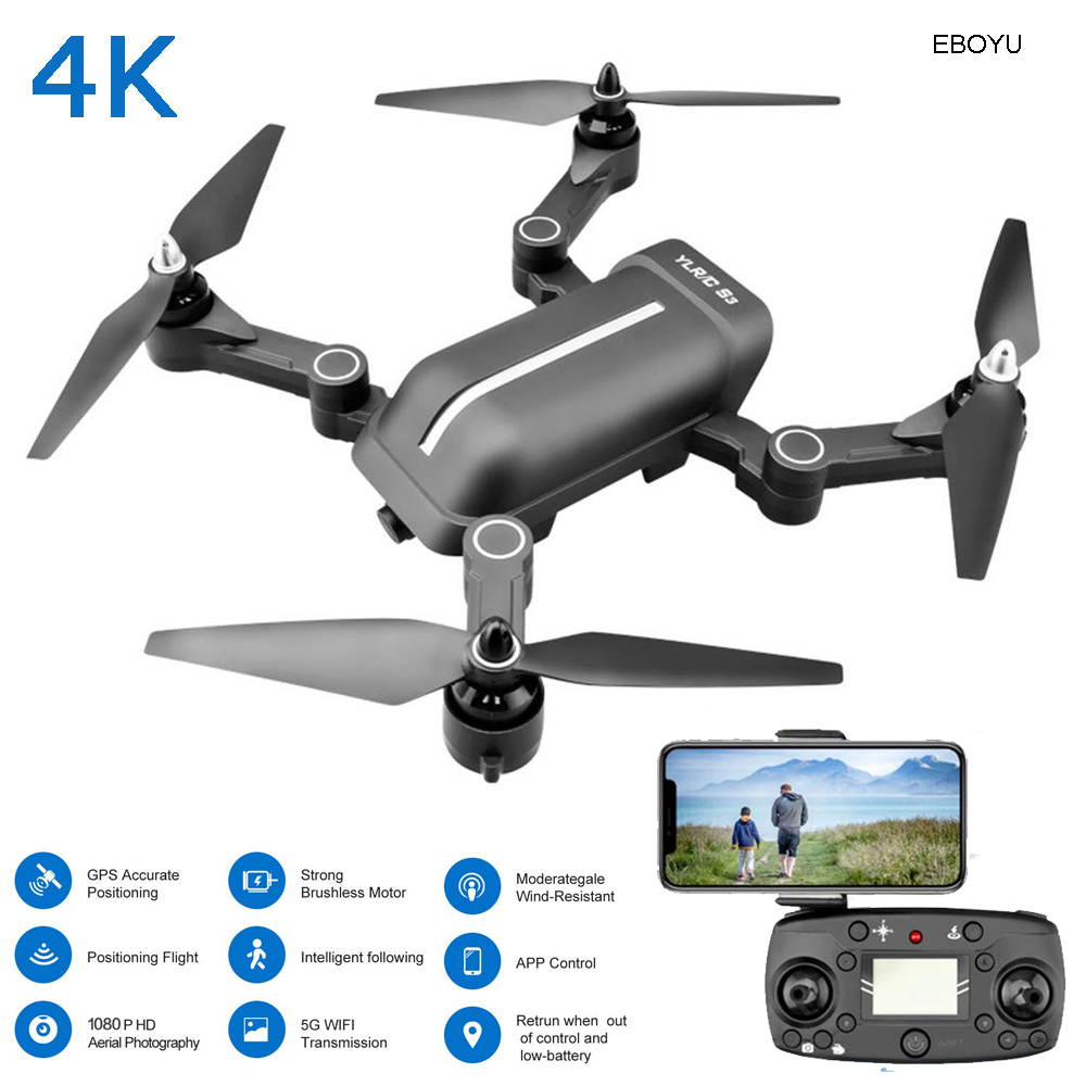 EBOYU S3 5G WiFi FPV 4K/1080P Wide Angle HD Camera GPS Dual Mode Positioning Foldable Brushless RC Drone Quadcopter GPS Drone image