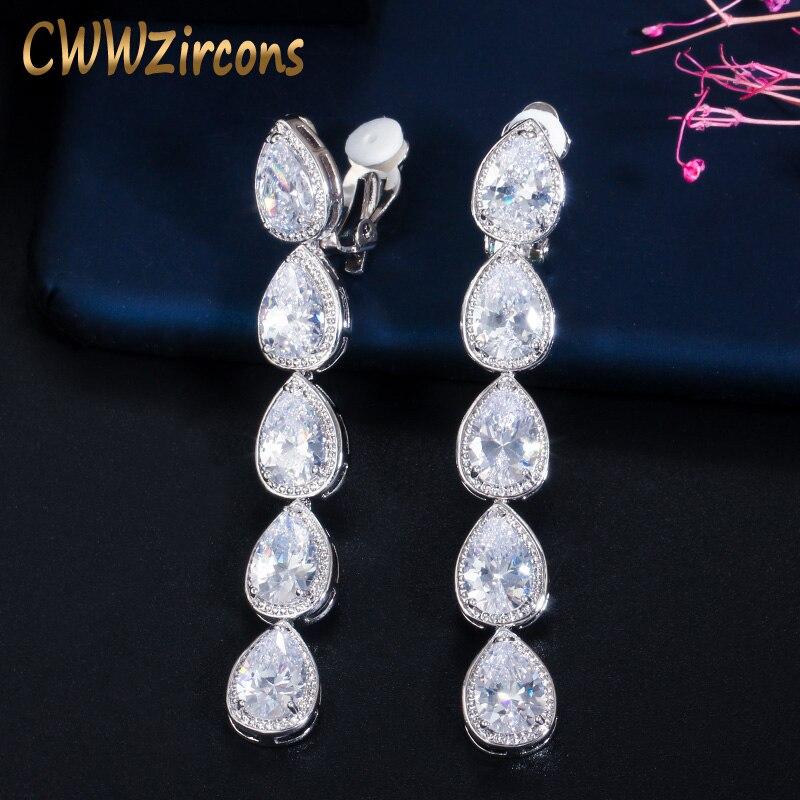 CWWZircons-pendientes largos de circonia cúbica para mujer, diseño de oreja sin perforación, con Clip de cristal, traje de fiesta de boda, joyería CZ713