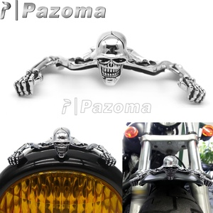 Chrome Skull Headlight Visor Attached Skeleton Mudguard Decorative Figure Cafe Racer Fender Trim Housing Helmet Casco Decoration