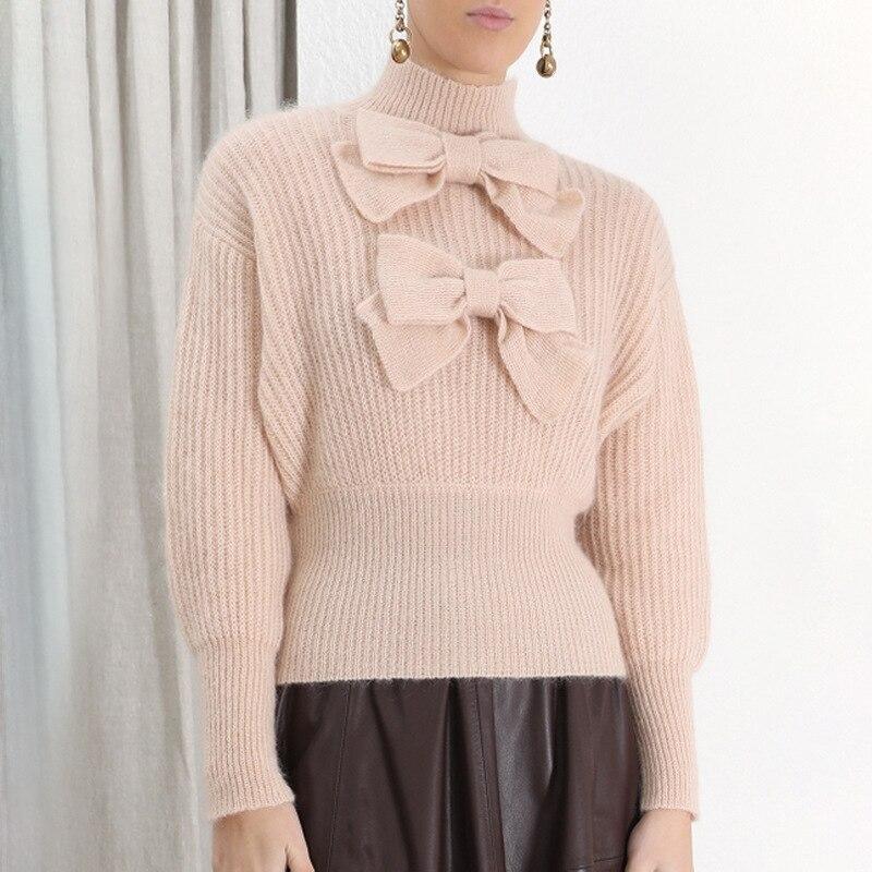 Automne hiver vêtements haut pour femme manches bouffantes douces 2019 coréen Mohair femme chandail arc tricoté femme pull col roulé W666