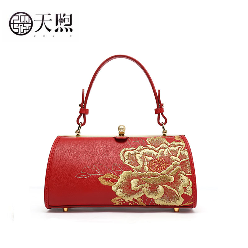 Pmsix women Genuine Leather bag fashion embroidery bag designer bags famous brand women bags 2020 new luxury handbags