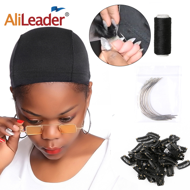 Alileader Cheap Dome Cap Sewing Thread C-Style Needles BB Clip Professional DIY Wig Tools Black Dome For Wig Making