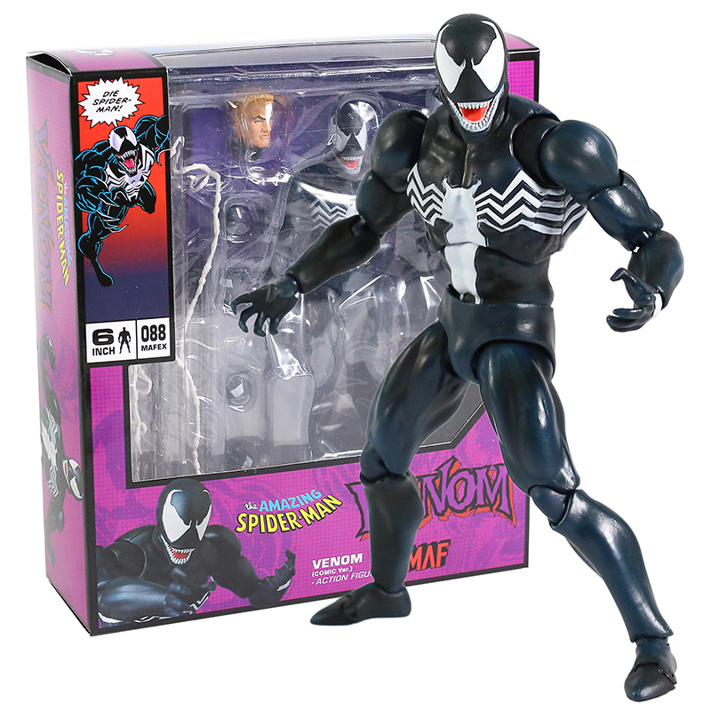 New Hot Venom Mafex 088 Comic Version Spiderman Action Figure Model collect Toy Christmas Gift for Kids