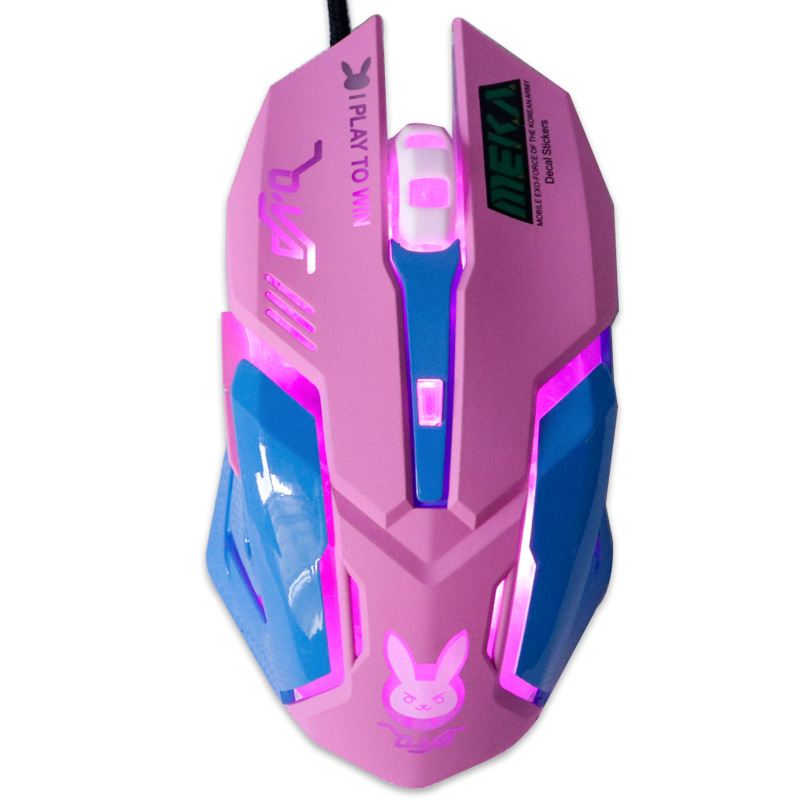 USB Wired Gaming Mouse Pink Computer Professional E-sports Mouse 2400 DPI Colorful Backlit Silent Mouse for Lol Data Laptop Pc 3