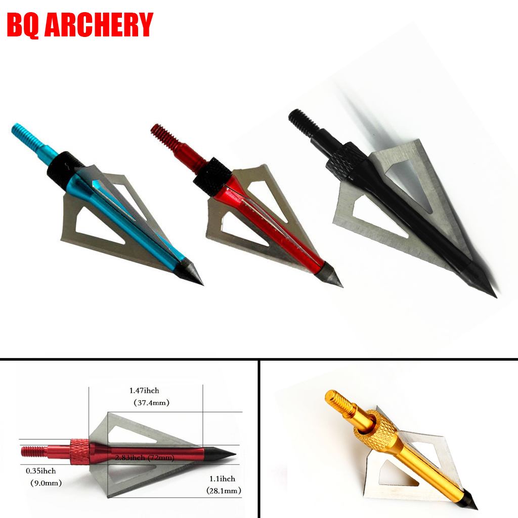 1PCS Archery Hunting Broadheads 100 Grain 3 Blade Broad Screw Tips Arrow Heads for Shooting Training Arrowhead Hunting image