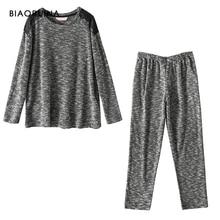 BIAORUINA Womens Comfortable Cotton Blends Casual Pajama Set Female Keep Warm Sleeping Set Autumn Winter Loose Casual Sets