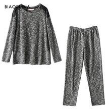 BIAORUINA mujeres cómodas mezclas de algodón Casual pijama conjunto femenino mantener caliente conjunto para dormir Otoño Invierno Conjuntos Casuales sueltos