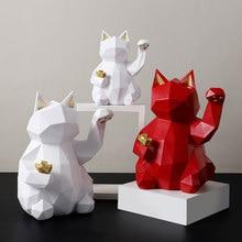 Resina escultura suerte gato decoración de moda casa moderna decoración estatua regalo