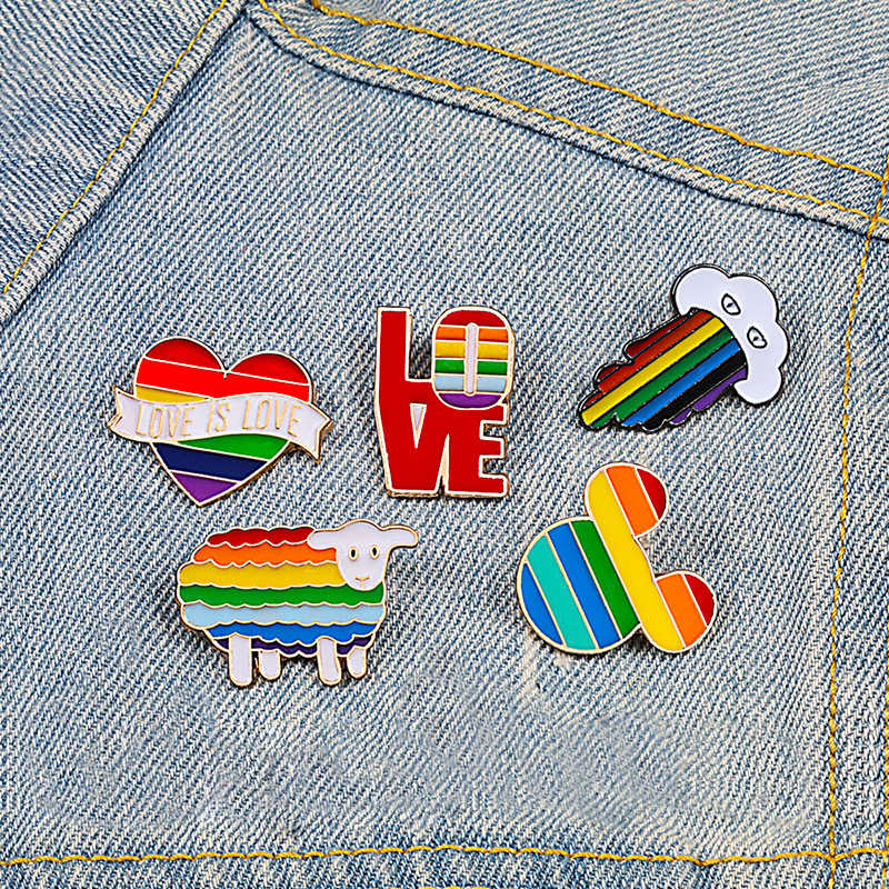 Rainbow Heart Cloud Brooch Pins Cartoon Colours Sheep Mouse Enamel Pin Coat Hat Letter Metal Badge LGBT Jewelry Lesbian Gay Gift