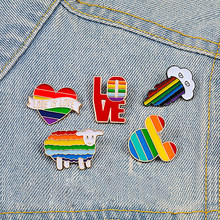 Regenboog Hart Cloud Broche Pins Cartoon Kleuren Schapen Muis Emaille Pin Jas Hoed Brief Metalen Badge LGBT Sieraden Lesbische Gay gift(China)