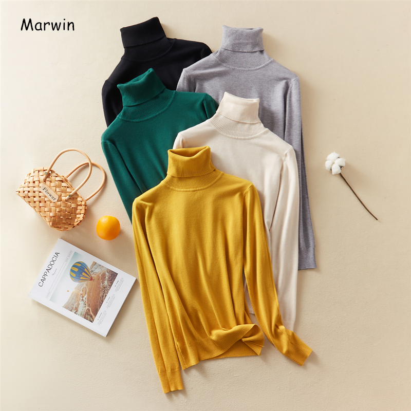 Marwin 2020 New-Coming Autumn Winter Solid Turn-Down Collar Pullovers Female Thick Turtleneck Knitted High Street  Women Sweater 1