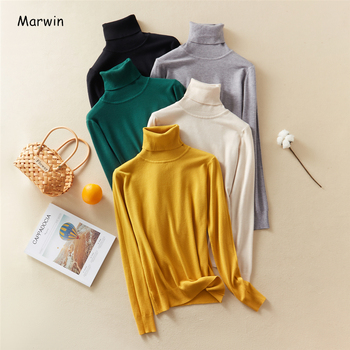 Marwin 2020 New-Coming Autumn Winter Solid Turn-Down Collar Pullovers Female Thick Turtleneck Knitted High Street  Women Sweater
