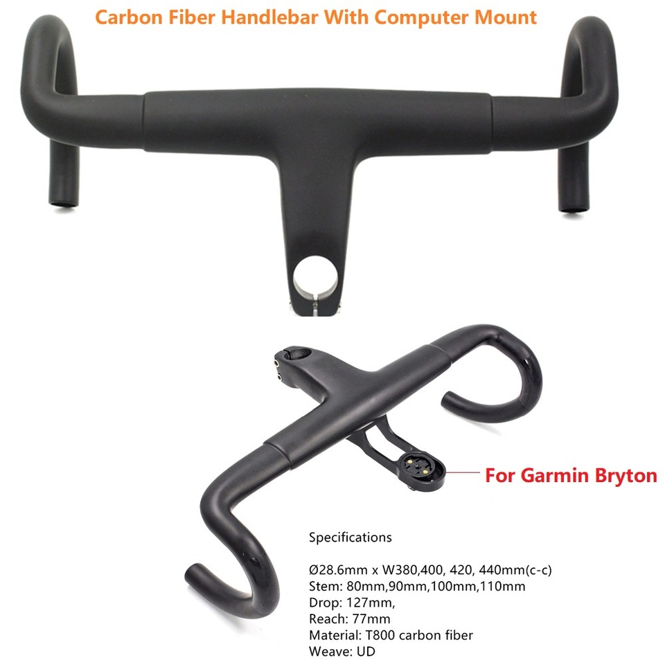Combo Quality T800 Carbon Fiber Integrated Road Bike Handlebar+Computer Mount
