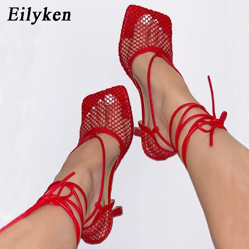 Eilyken Summer Autumn Sexy Mesh Pumps sandals Female Square Toe high heel Lace Up Cross tied Stiletto hollow Dress Pumps shoes