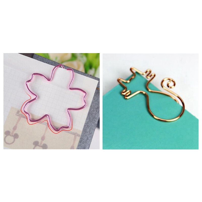 8Pcs Rose Gold Kawaii Cat Paper Clips Bookmark & 12Pcs Top Quality Plated Pink Paper Clips Sakura Paper Needle Bookmark Metal Me