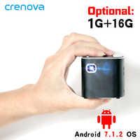 CRENOVA plus récent projecteur DLP Android 7.1.2OS Wifi Bluetooth pour Full HD 1080P cinéma maison Mini projecteur Portable projecteur