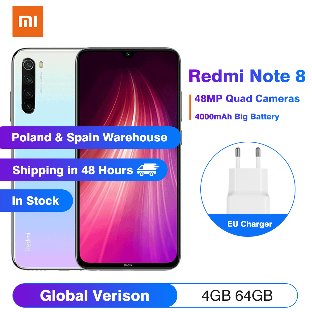 הגלובלי גרסת Xiaomi Redmi הערה 8 4GB 64GB Smartphone 48MP Quad מצלמה 4000mAh 18W QC 3.0 6.3
