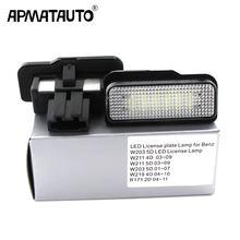 2 pces para mercedes w211 4d w203 5d w219 r171 2d 12v carro conduziu a luz da placa de licença nenhum erro canbus para benz lâmpada de placa de número branco