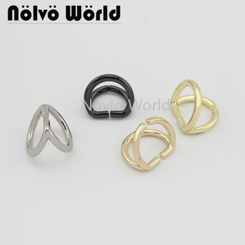 Wholesale 500pcs, 5 Colors Accept Mix Color,inner Width 15.5*13.3mm,metal D Ring Duoble-sided D Buckle For Handbag Hardware