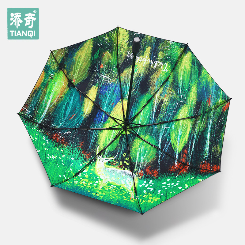 Creative Forest Elk Black Umbrella Three Fold Vinyl Sun-resistant Ultraviolet ray Rain Or Shine Parasol Wholesale On Behalf