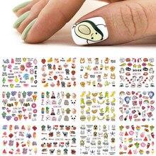 12pcs adesivi per unghie Avocado simpatico cartone animato cursori di trasferimento per unghie cane gatto acqua decalcomanie Anime Tatto per Manicure GLBN1585-1596