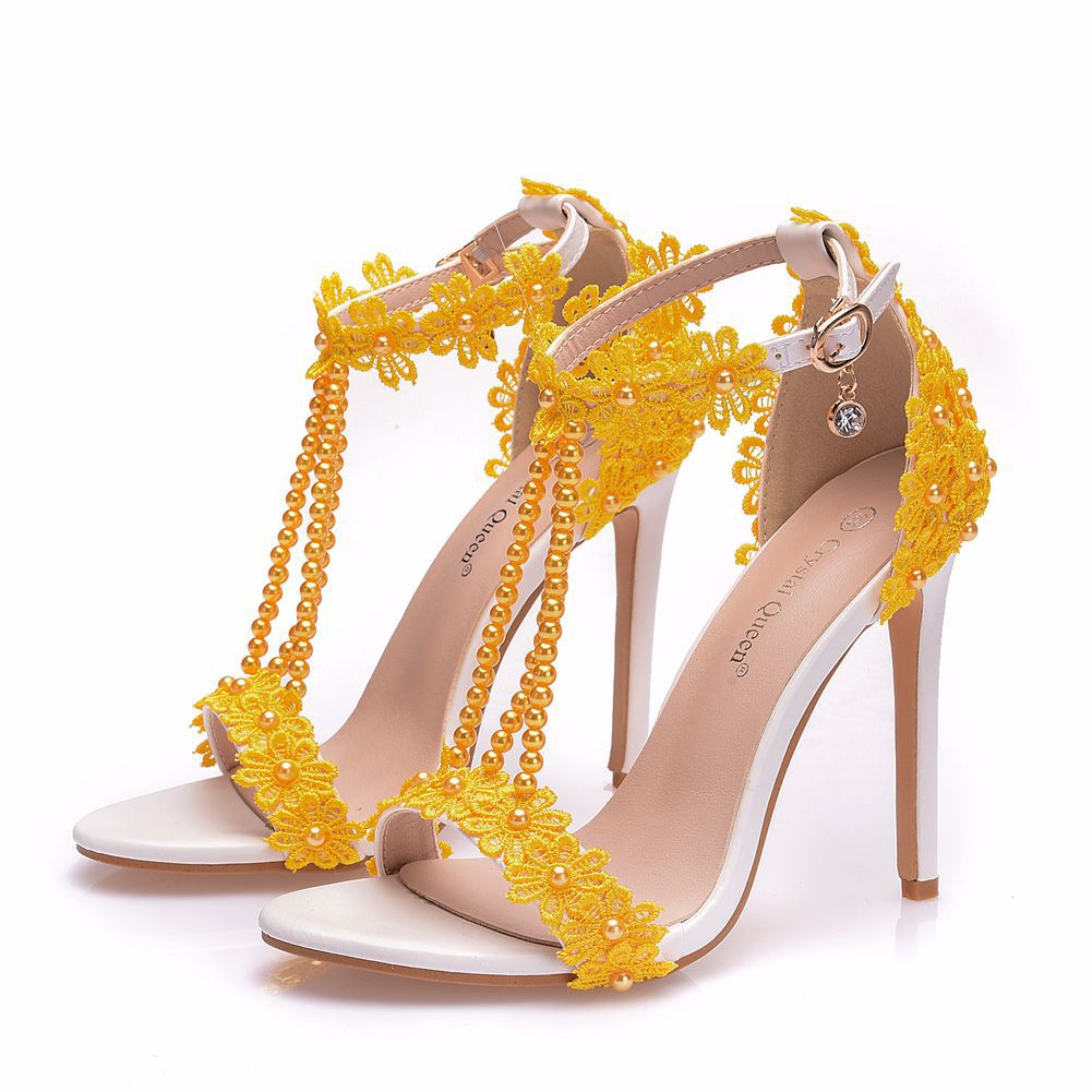 Bride Pearl Water Drill Flower Yellow Wedding Shoes Super Heel
