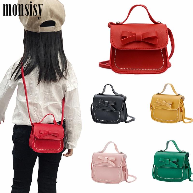 Monsisy 2020 Girl Coin Purse Handbag Children Wallet Small Coin Box Bag Cute Bow Kid Money Bag Baby Shoulder Bag Purse Bolso