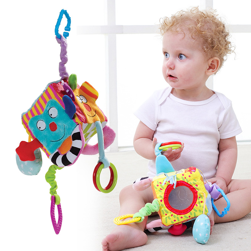 High Quality Multifunctional Blocks Bed Bell Cartoon Teether Rattle Pendant Baby Educational Toy